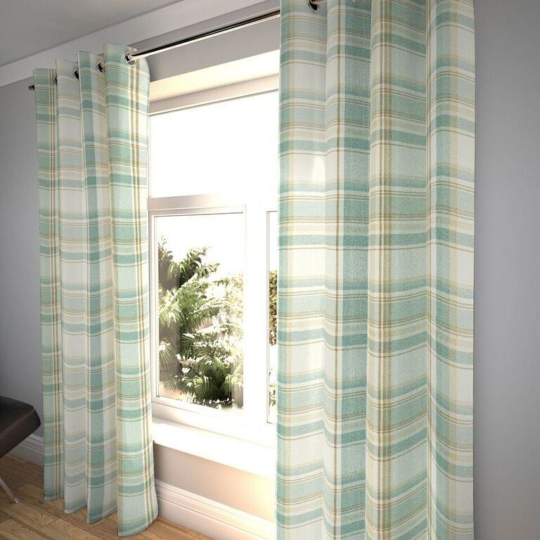 "McAlister Textiles Heritage Tartan Check Duck Egg Blue Curtains Tailored Curtains Pencil Pleat Standard Lining 116cm(w) x 182cm(d) (46"" x 72"")"