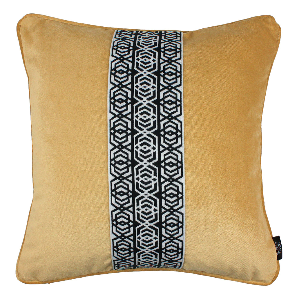 McAlister Textiles Coba Striped Ochre Yellow Velvet Cushion Cushions and Covers Polyester Filler 43cm x 43cm