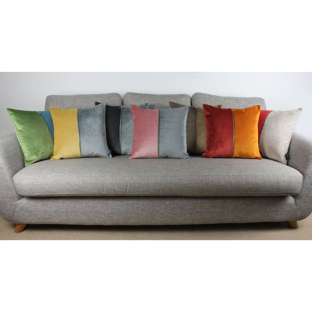 McAlister Textiles Decorative Zip Coral + Beige Velvet Cushion Cushions and Covers