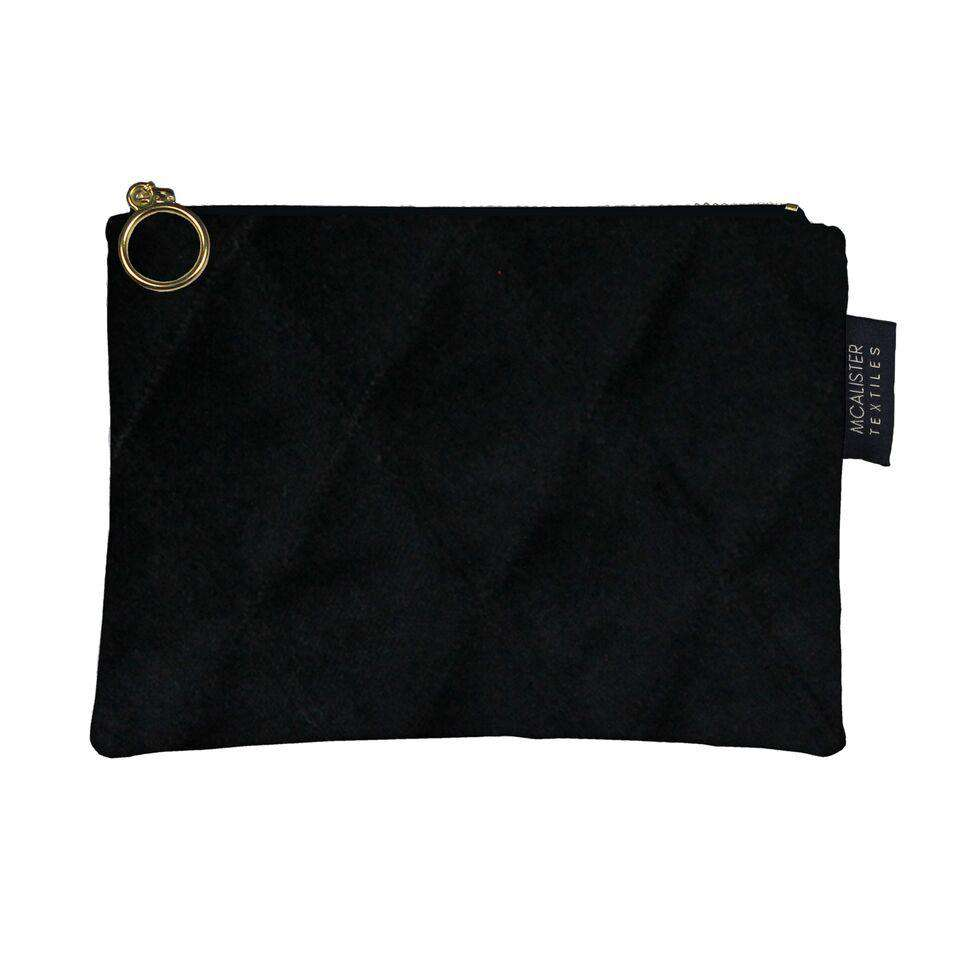 McAlister Textiles Diamond Pattern Black Velvet Makeup Bag Clutch Bag