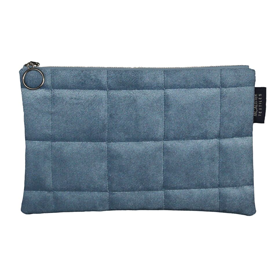 McAlister Textiles Square Pattern Blue Velvet Makeup Bag - Large Clutch Bag
