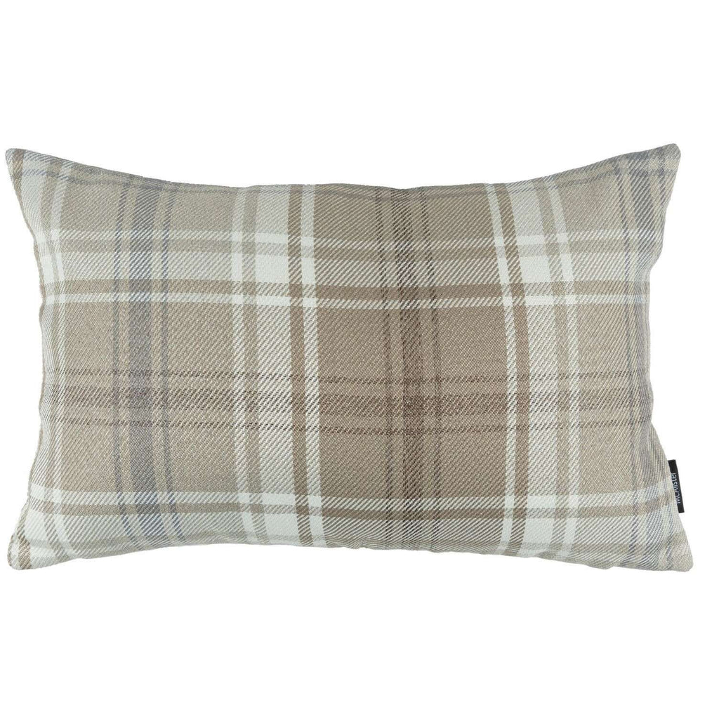 McAlister Textiles Angus Beige Cream Tartan Cushion Cushions and Covers Cover Only 50cm x 30cm