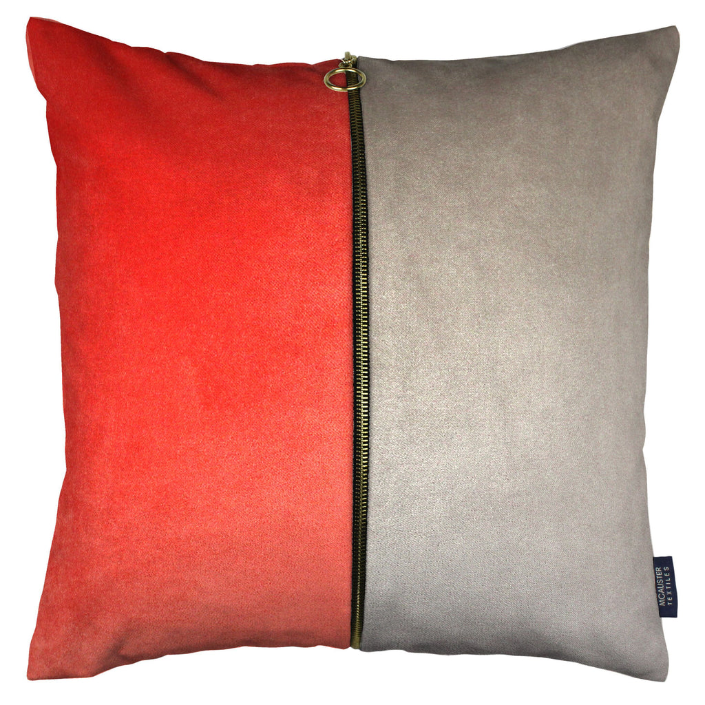 McAlister Textiles Decorative Zip Coral + Beige Velvet Cushion Cushions and Covers Cover Only 43cm x 43cm