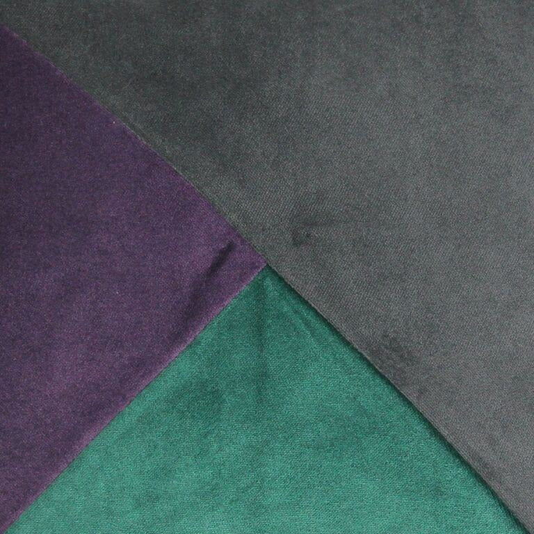 McAlister Textiles Diagonal Patchwork Velvet Purple, Green + Grey Cushion Cushions and Covers
