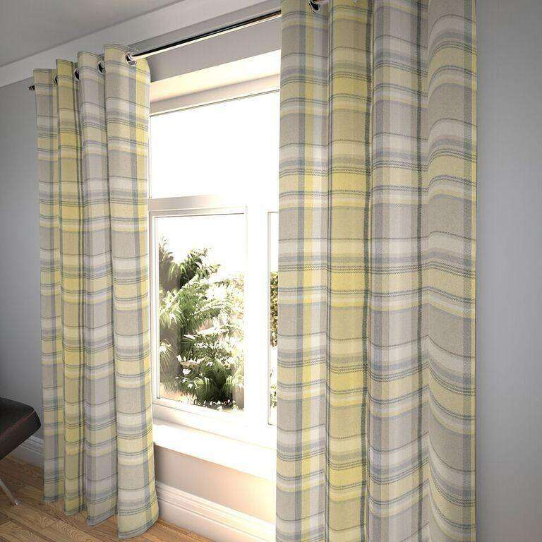 "McAlister Textiles Heritage Tartan Check Mimosa Yellow + Grey Curtains Tailored Curtains 116cm(w) x 182cm(d) (46"" x 72"")"
