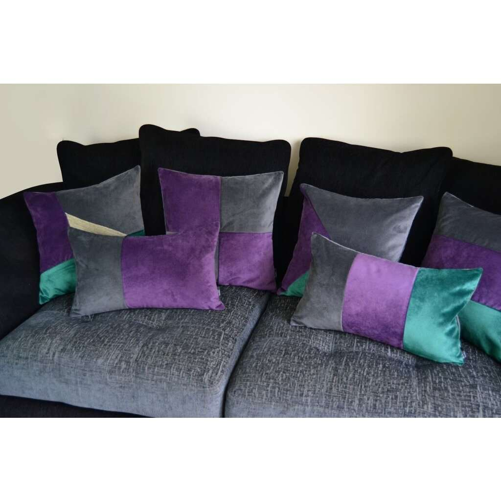 McAlister Textiles 3 Colour Patchwork Velvet Green, Purple + Grey Pillow Pillow
