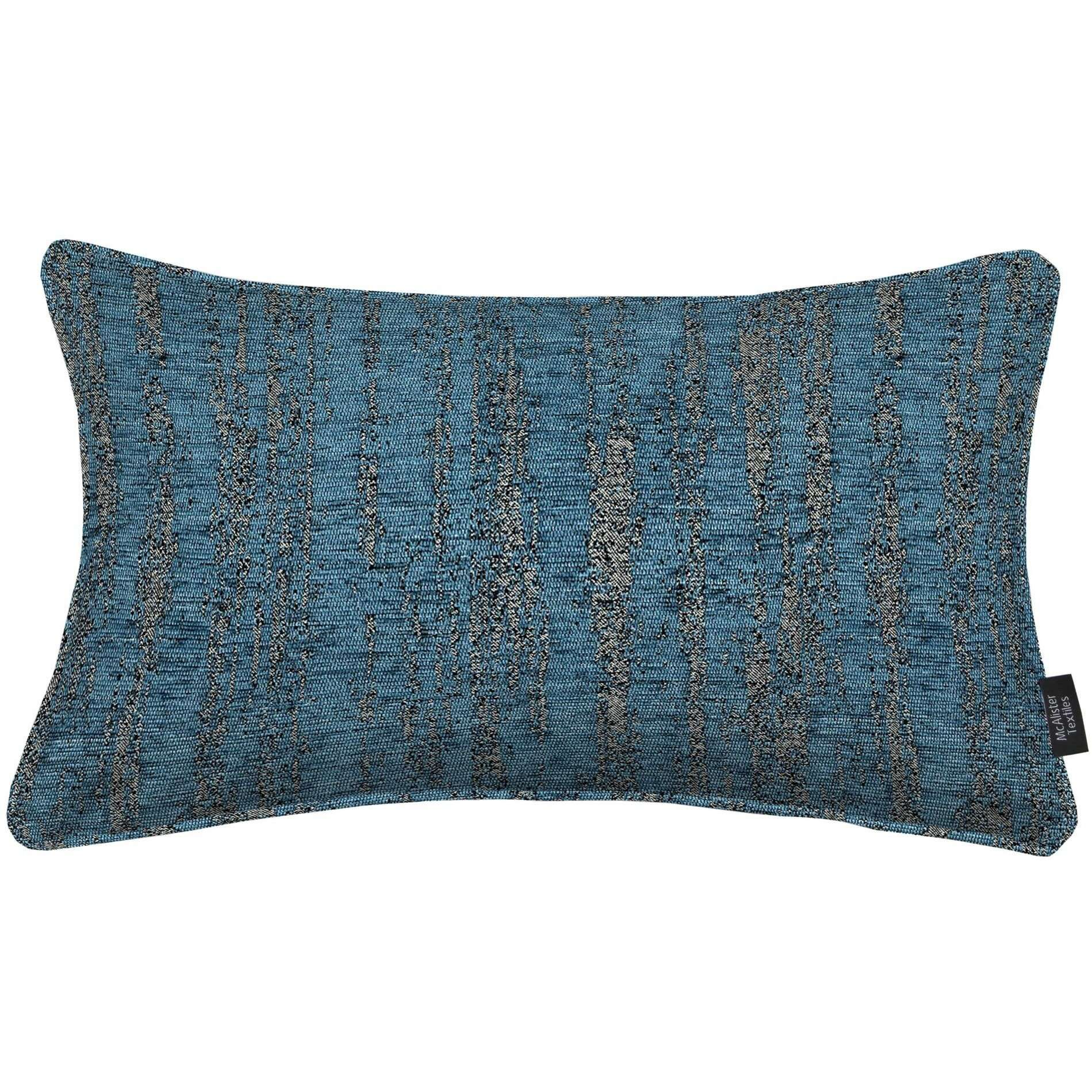 McAlister Textiles Textured Chenille Denim Blue Cushion Cushions and Covers Cover Only 50cm x 30cm