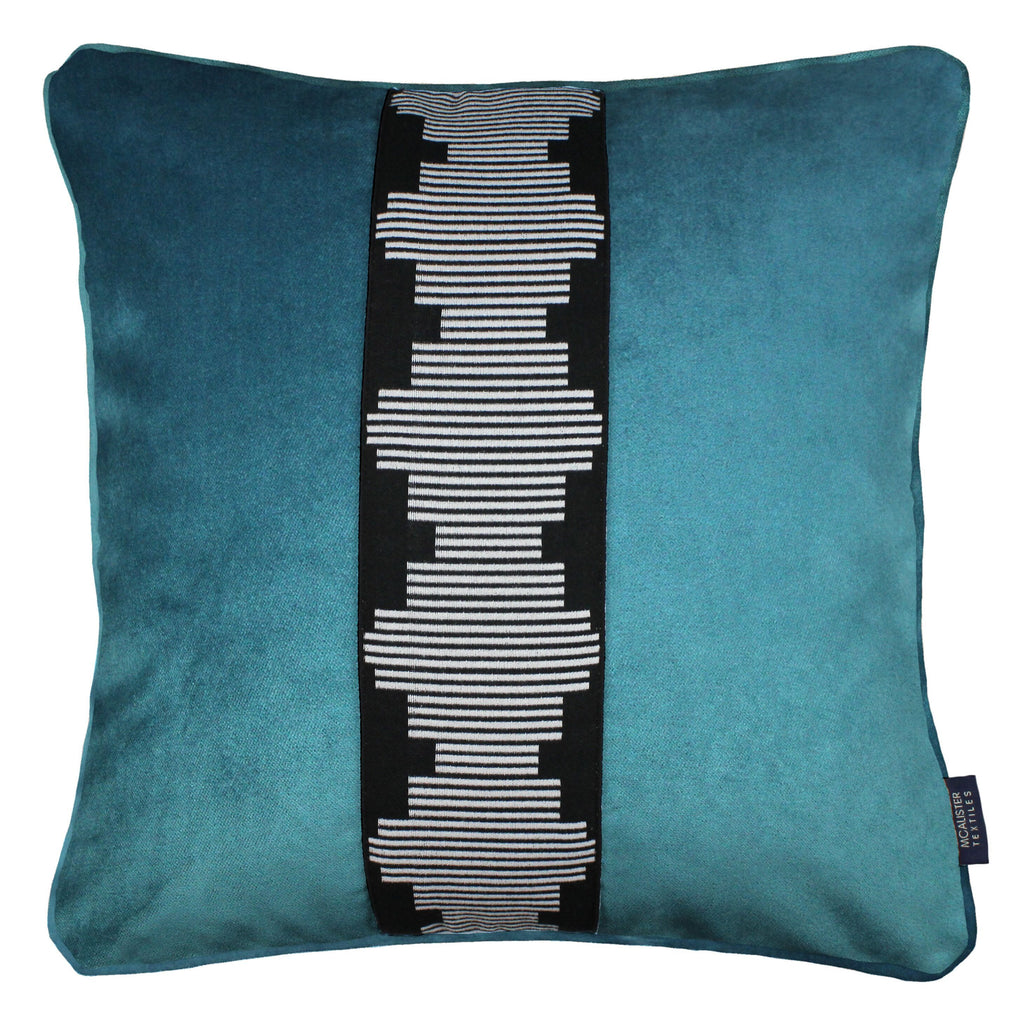 McAlister Textiles Maya Striped Blue Teal Velvet Cushion Cushions and Covers Polyester Filler 43cm x 43cm