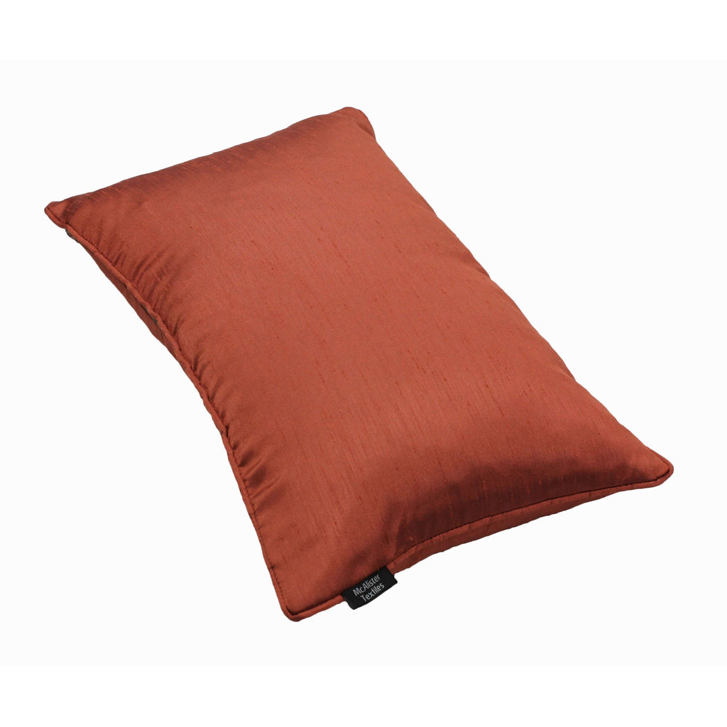 McAlister Textiles Rocco Plain Faux Silk Burnt Orange Cushion Cushions and Covers