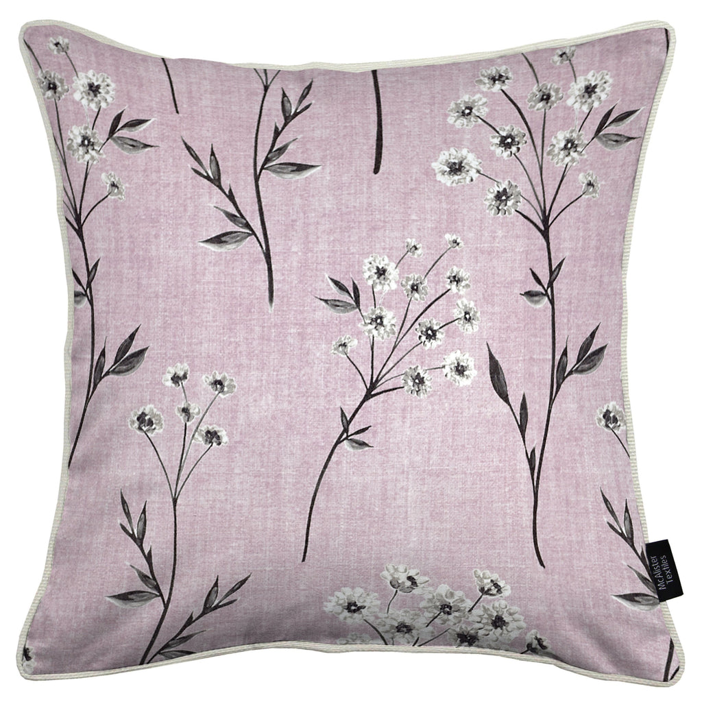 McAlister Textiles Meadow Blush Pink Floral Cotton Print Cushions Cushions and Covers Cover Only 43cm x 43cm
