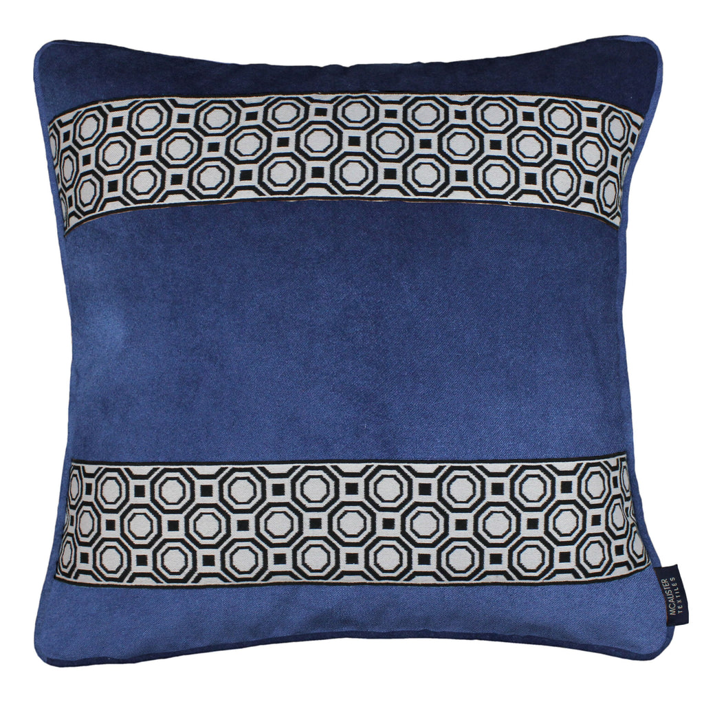 McAlister Textiles Cancun Striped Navy Blue Velvet Cushion Cushions and Covers Polyester Filler 43cm x 43cm