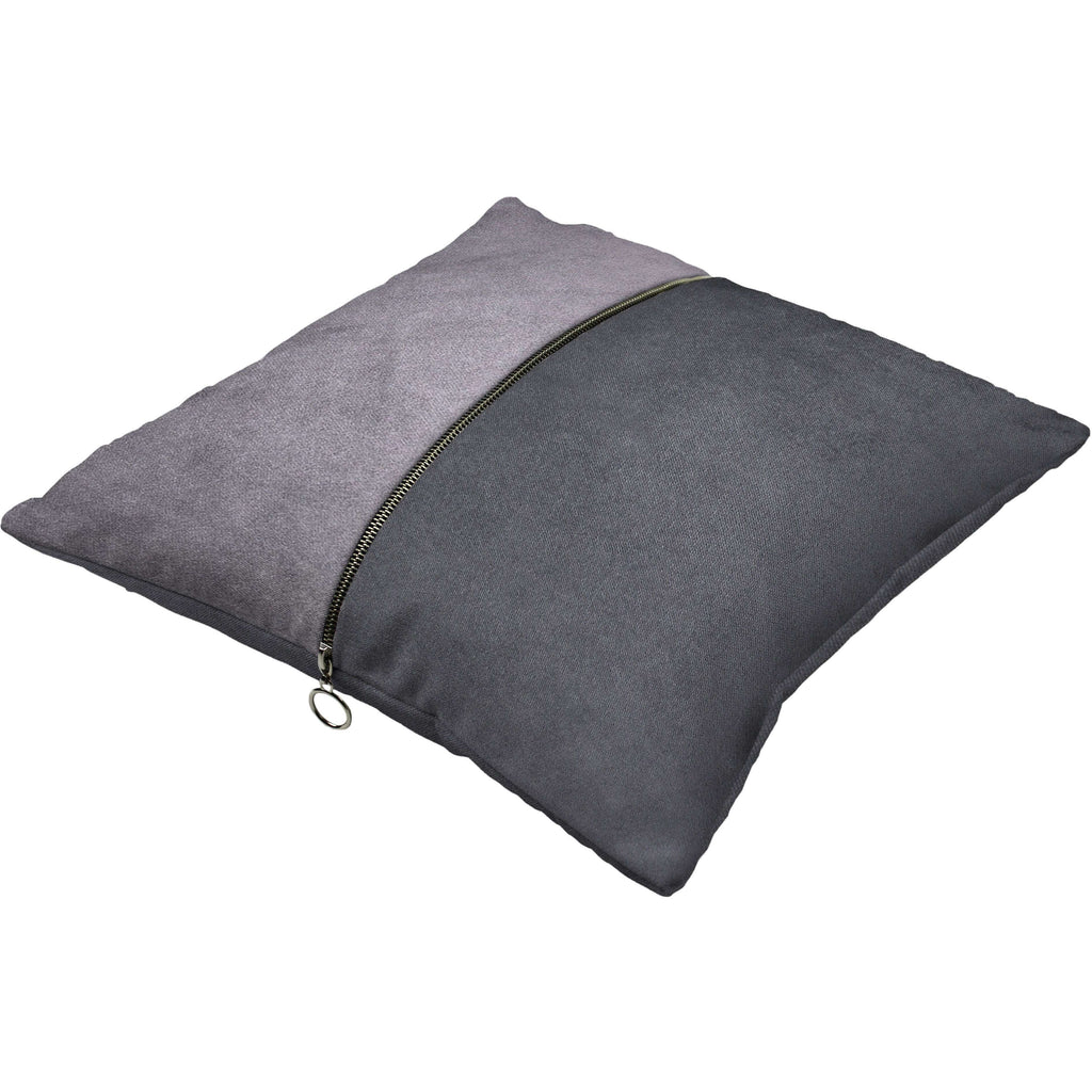 McAlister Textiles Decorative Zip Silver + Grey Velvet Cushion Cushions and Covers