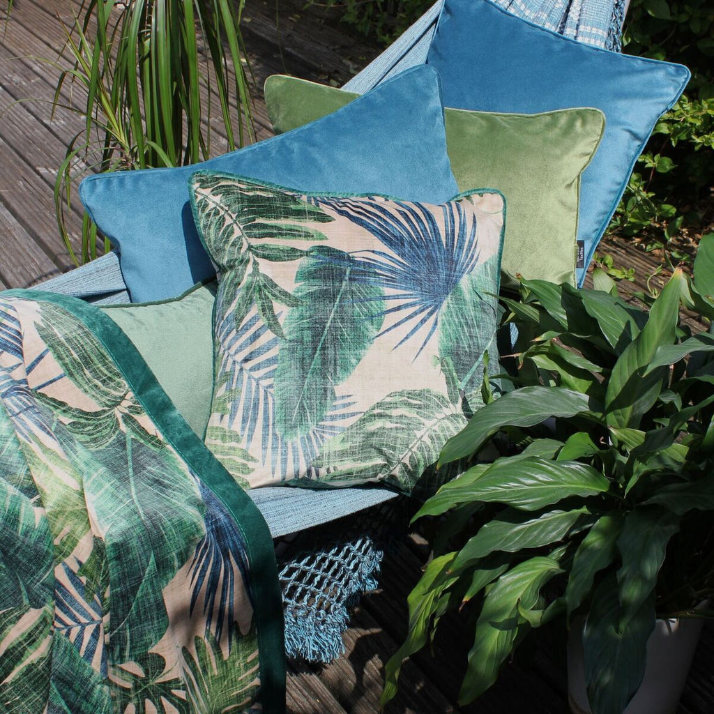 McAlister Textiles Palm Leaf Velvet Print Cushion Cushions and Covers