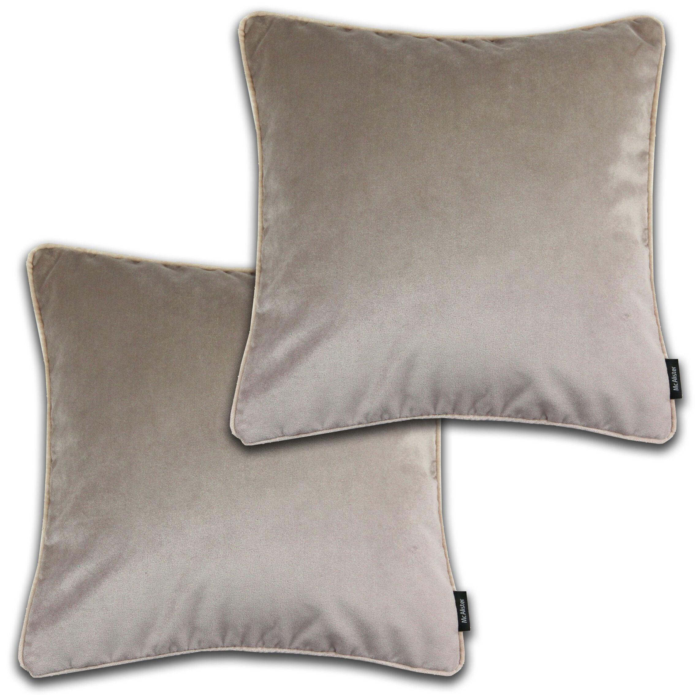 McAlister Textiles Matt Beige Mink Velvet 43cm x 43cm Cushion Sets Cushions and Covers Cushion Covers Set of 2