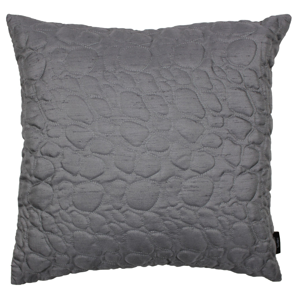 McAlister Textiles Rocco Pebble Quilted Charcoal Grey Silk Cushion Cushions and Covers Cover Only 43cm x 43cm
