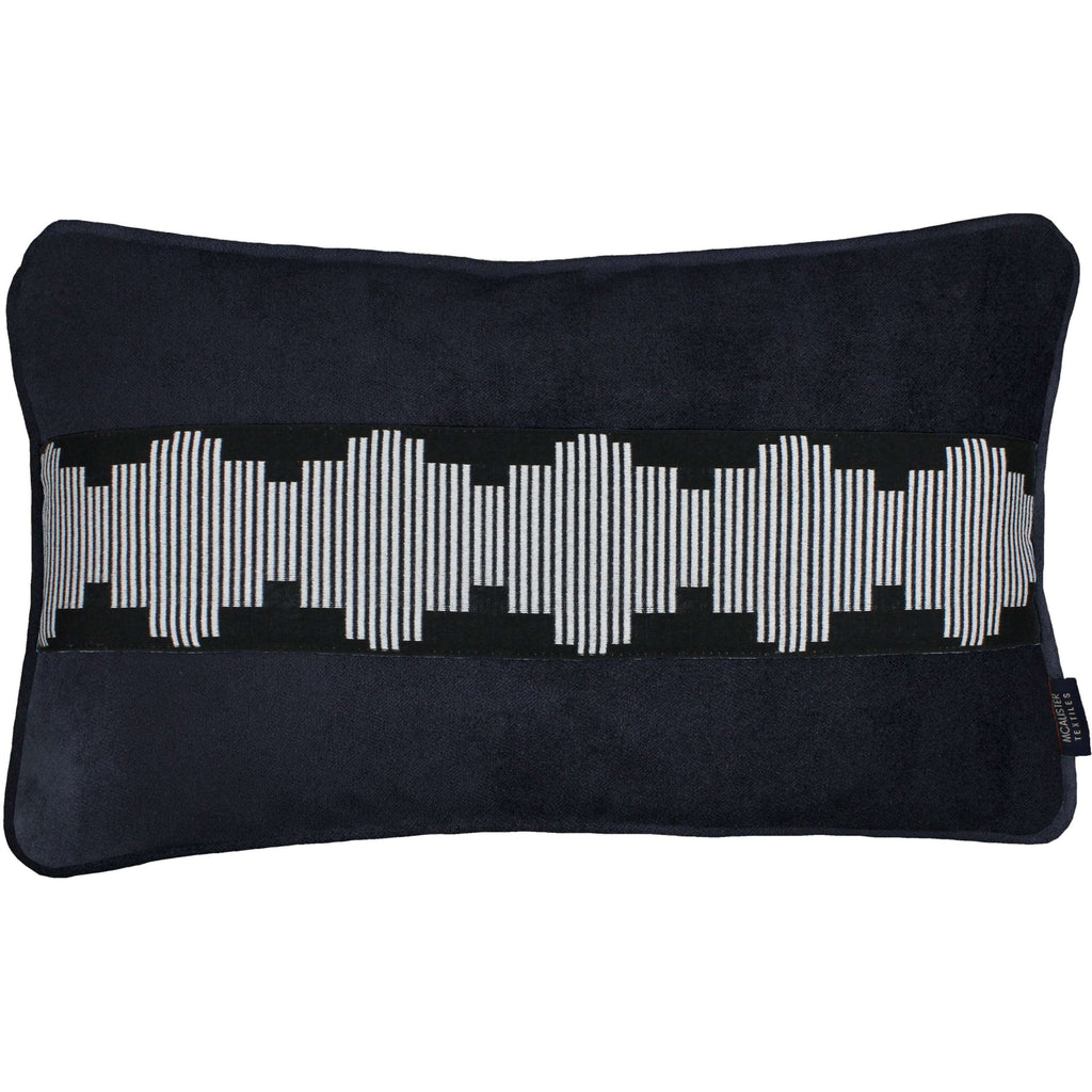 McAlister Textiles Maya Striped Black Velvet Cushion Cushions and Covers Cover Only 50cm x 30cm