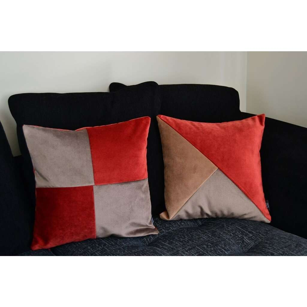 McAlister Textiles Diagonal Patchwork Velvet Brown, Gold + Red Cushion Cushions and Covers