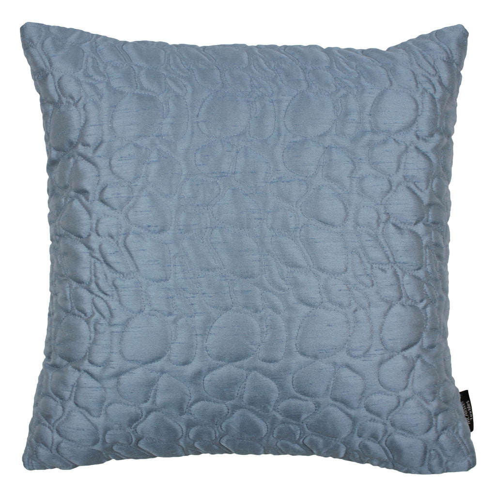 McAlister Textiles Rocco Pebble Quilted Wedgewood Blue Silk Cushion Cushions and Covers Cover Only 43cm x 43cm
