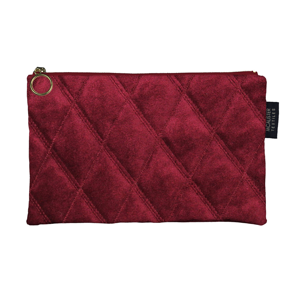McAlister Textiles Diamond Pattern Red Velvet Makeup Bag - Large Clutch Bag