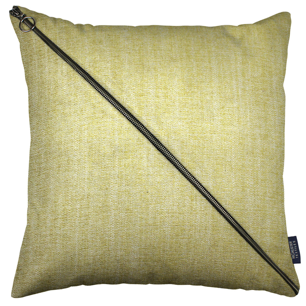 McAlister Textiles Rhumba Diagonal Zip Yellow Linen Cushion Cushions and Covers Cover Only 43cm x 43cm