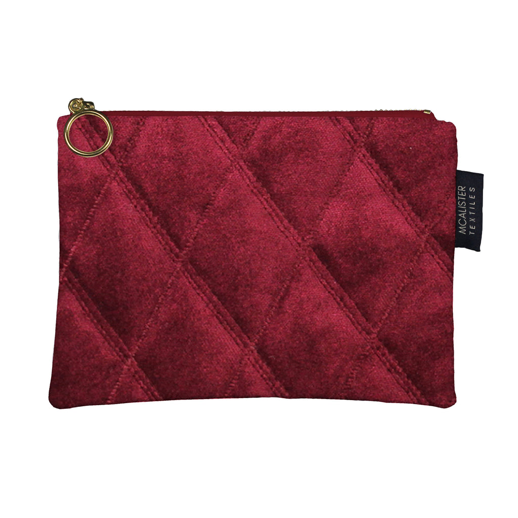 McAlister Textiles Diamond Pattern Red Velvet Makeup Bag Clutch Bag