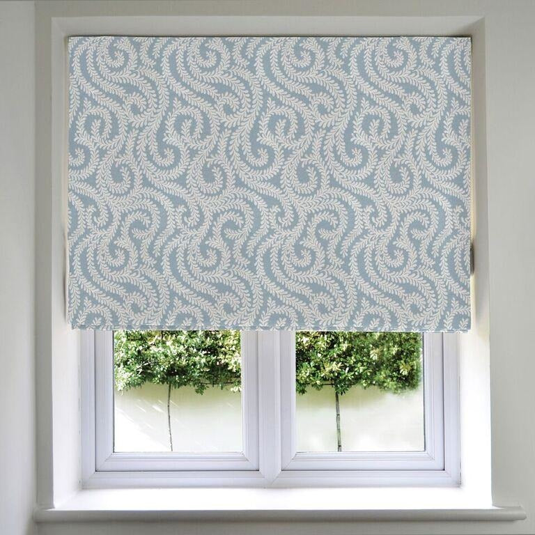 McAlister Textiles Little Leaf Wedgewood Blue Roman Blind Roman Blinds Standard Lining 130cm x 200cm