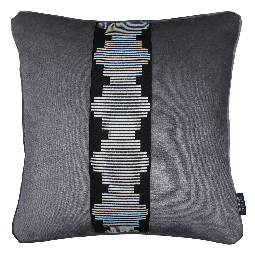 McAlister Textiles Maya Striped Charcoal Grey Velvet Cushion Cushions and Covers Polyester Filler 43cm x 43cm
