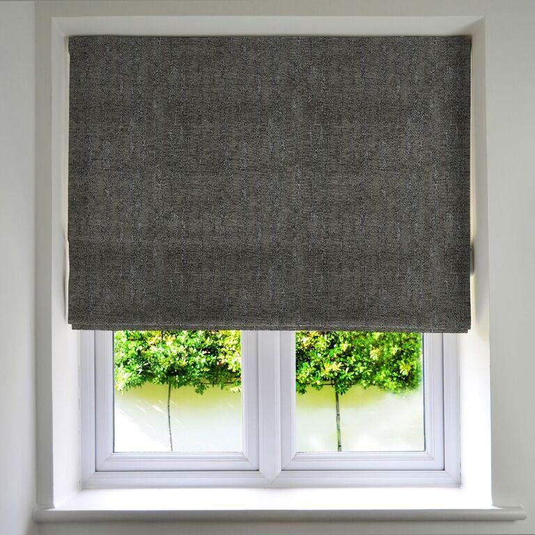McAlister Textiles Textured Chenille Charcoal Grey Roman Blinds Roman Blinds Standard Lining 130cm x 200cm