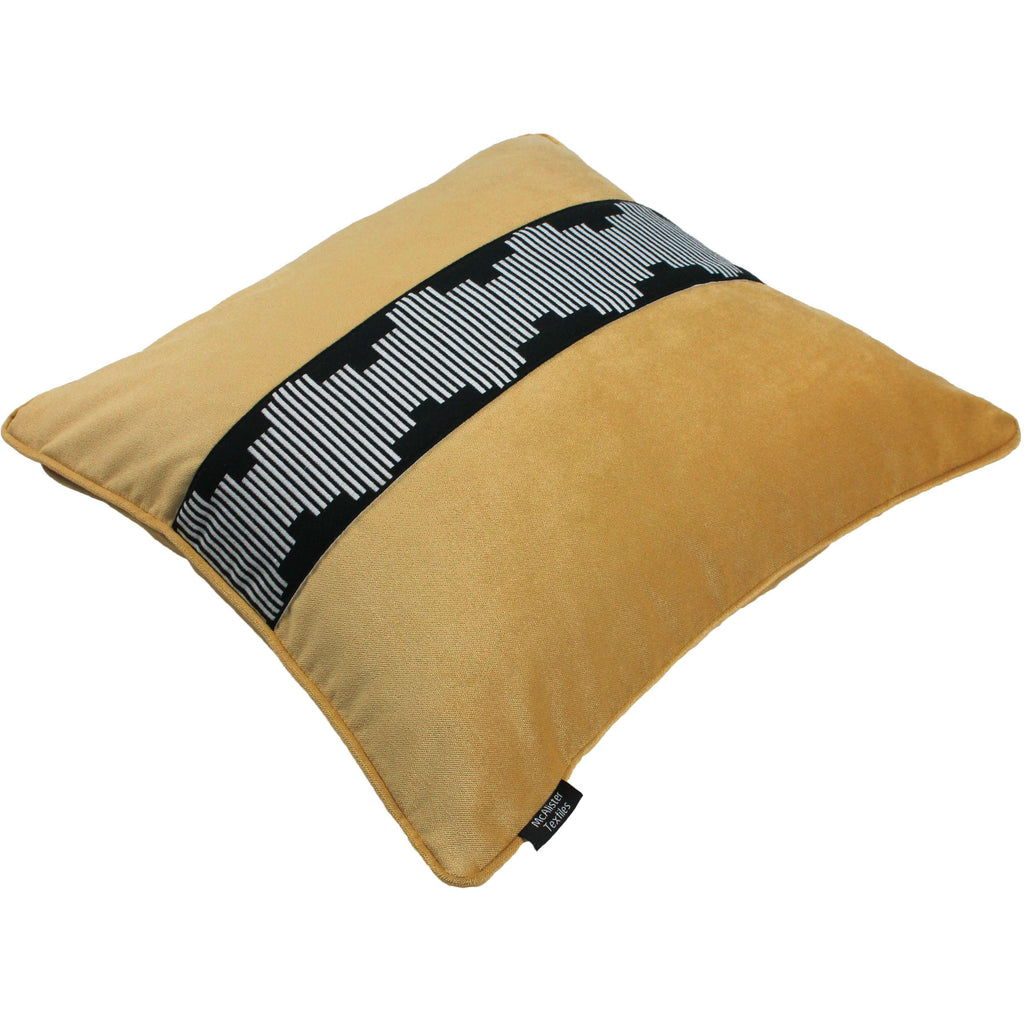 McAlister Textiles Maya Striped Ochre Yellow Velvet Cushion Cushions and Covers