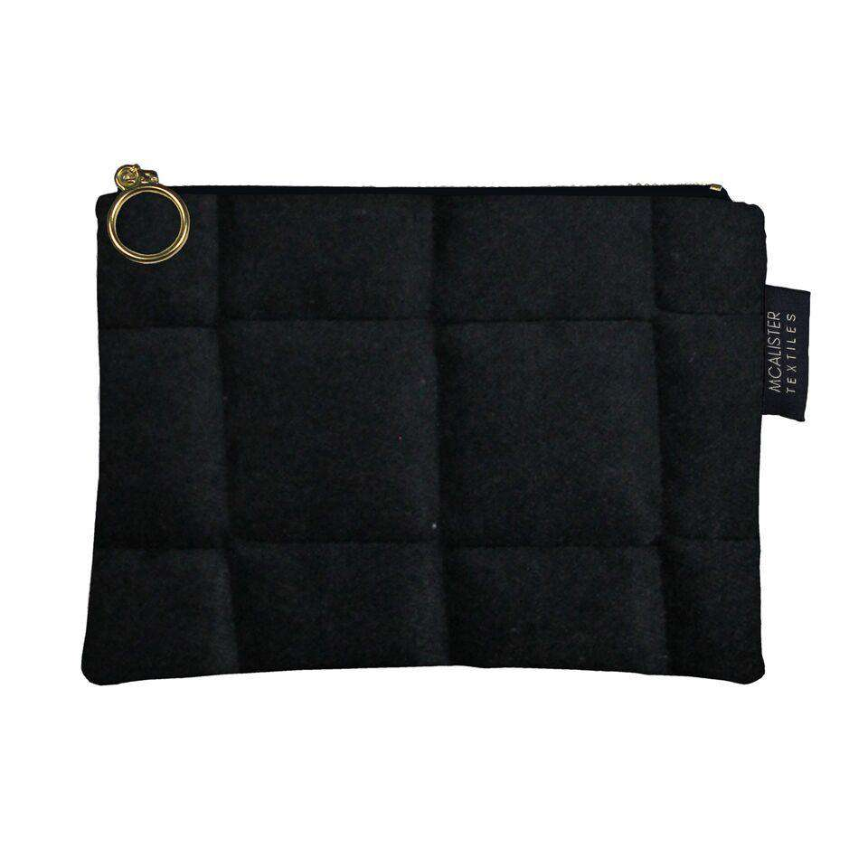 McAlister Textiles Square Pattern Black Velvet Makeup Bag Clutch Bag