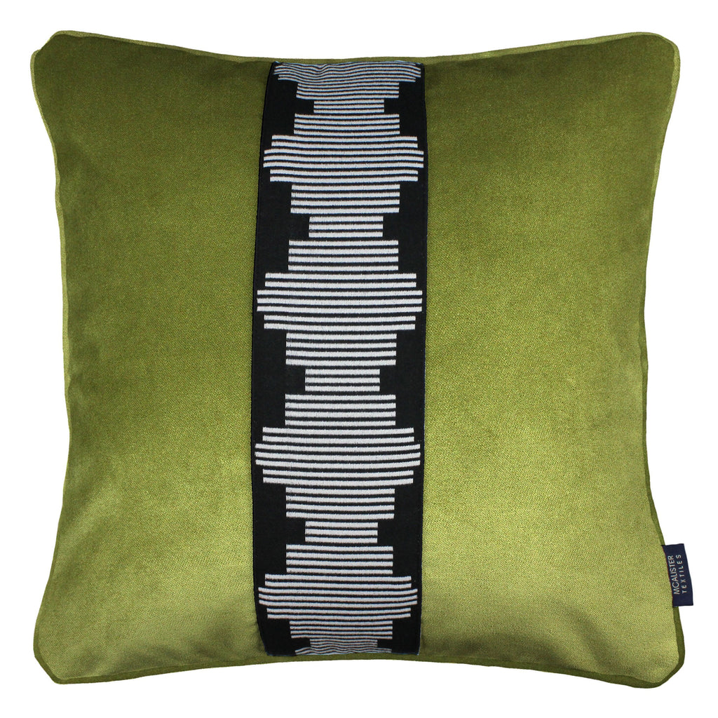 McAlister Textiles Maya Striped Lime Green Velvet Cushion Cushions and Covers Polyester Filler 43cm x 43cm