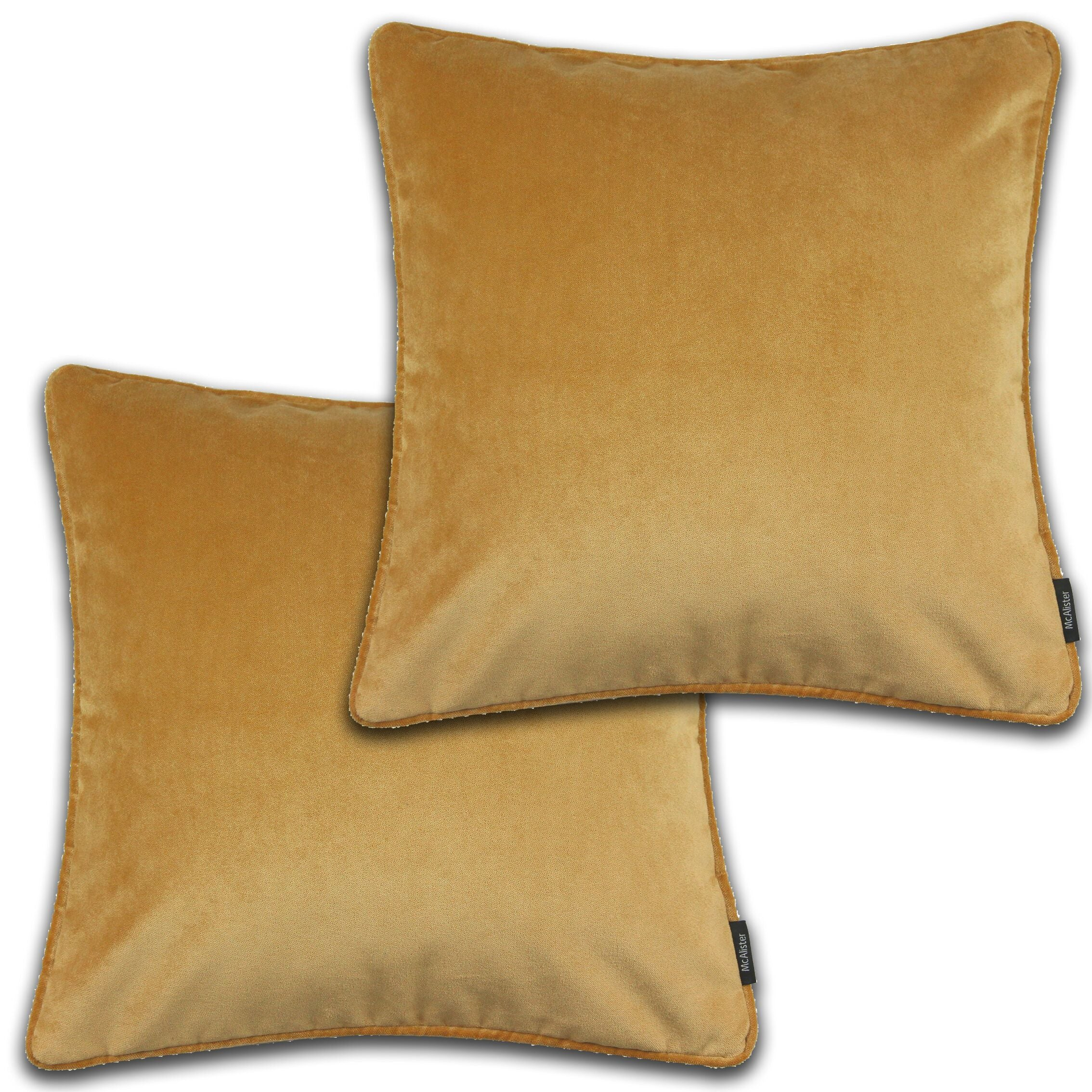 McAlister Textiles Matt Ochre Yellow Velvet 43cm x 43cm Cushion Sets Cushions and Covers Cushion Covers Set of 2