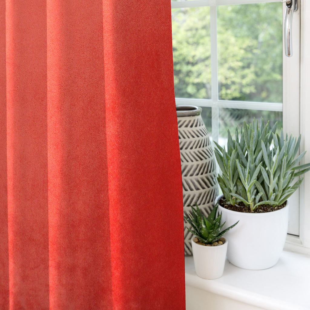 McAlister Textiles Matt Coral Pink Velvet Curtains Tailored Curtains