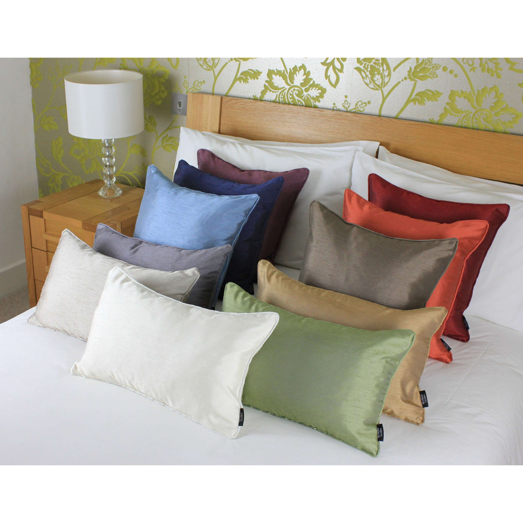 McAlister Textiles Rocco Plain Faux Silk Natural Cushion Cushions and Covers