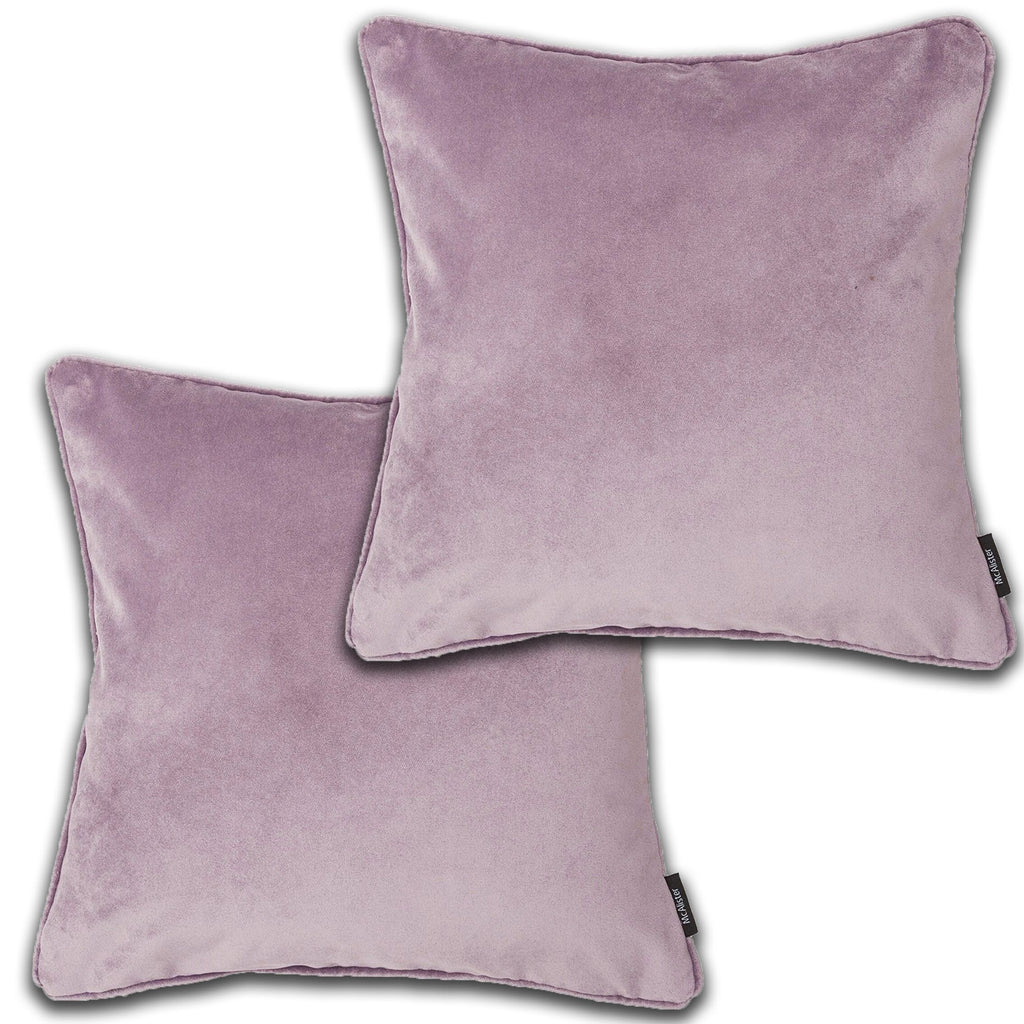 McAlister Textiles Matt Lilac Purple Velvet 43cm x 43cm Cushion Sets Cushions and Covers Cushion Covers Set of 2