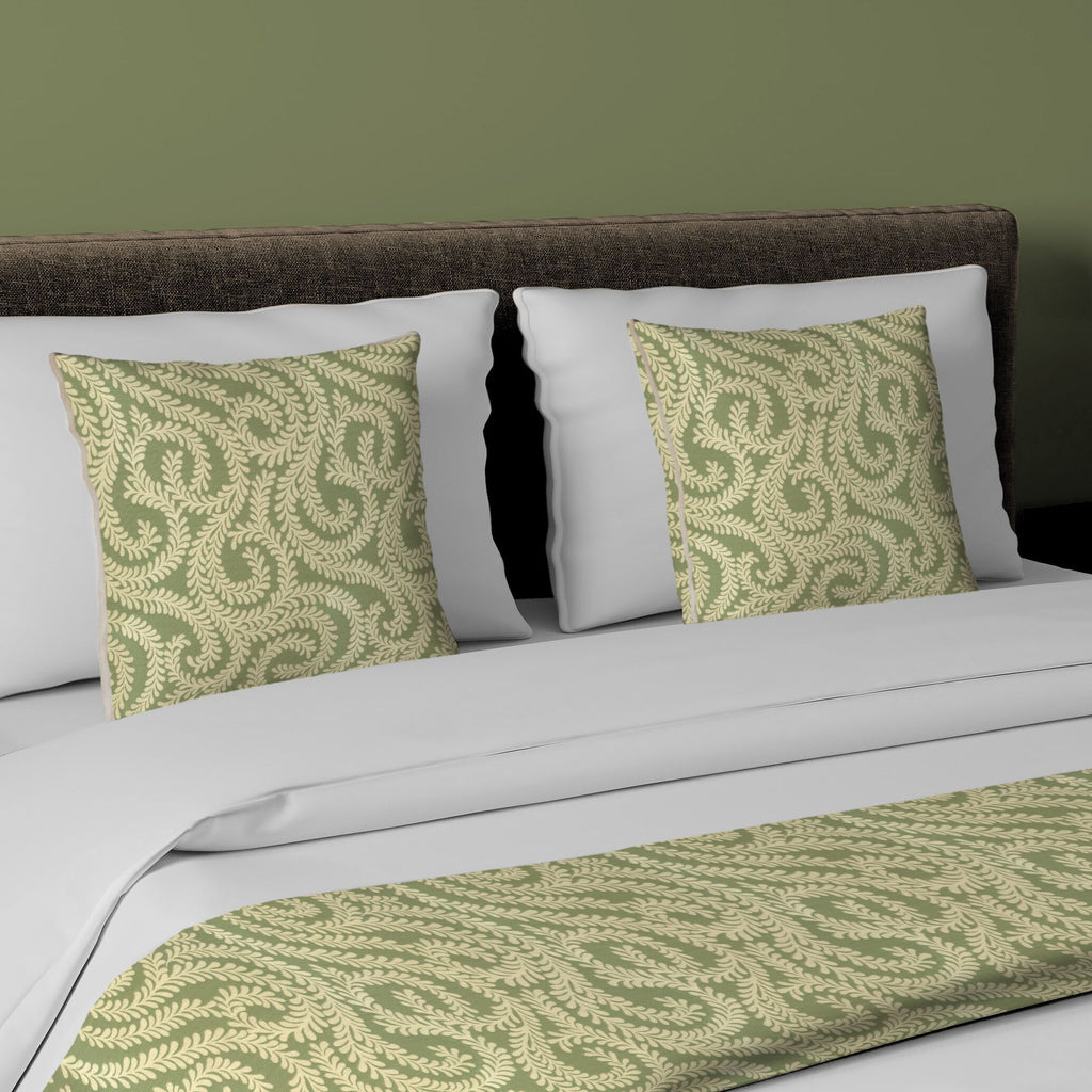 McAlister Textiles Little Leaf Sage Green Bedding Set Bedding Set Runner (50x240cm) + 2x Cushion Covers