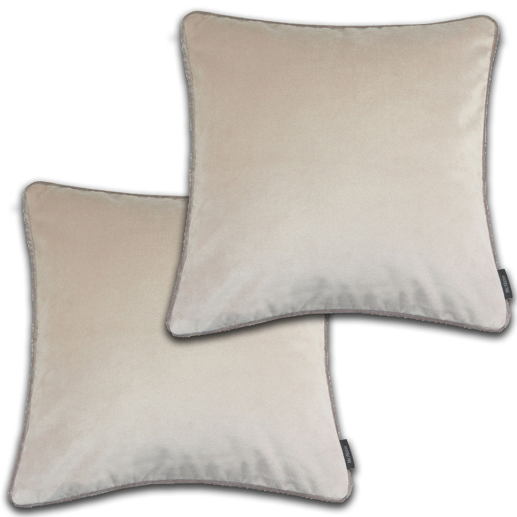 McAlister Textiles Matt Champagne Gold Velvet 43cm x 43cm Cushion Sets Cushions and Covers Cushion Covers Set of 2
