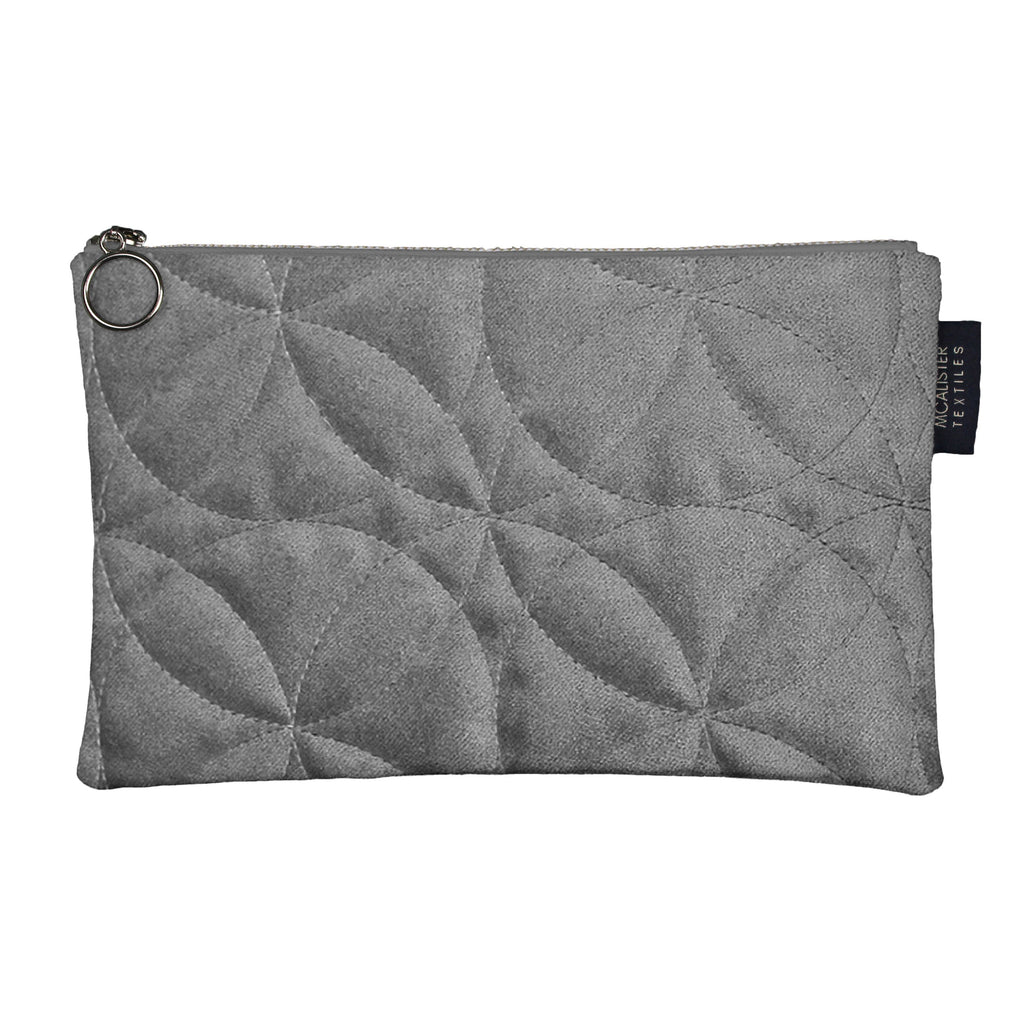 McAlister Textiles Circular Pattern Silver Velvet Makeup Bag - Large Clutch Bag