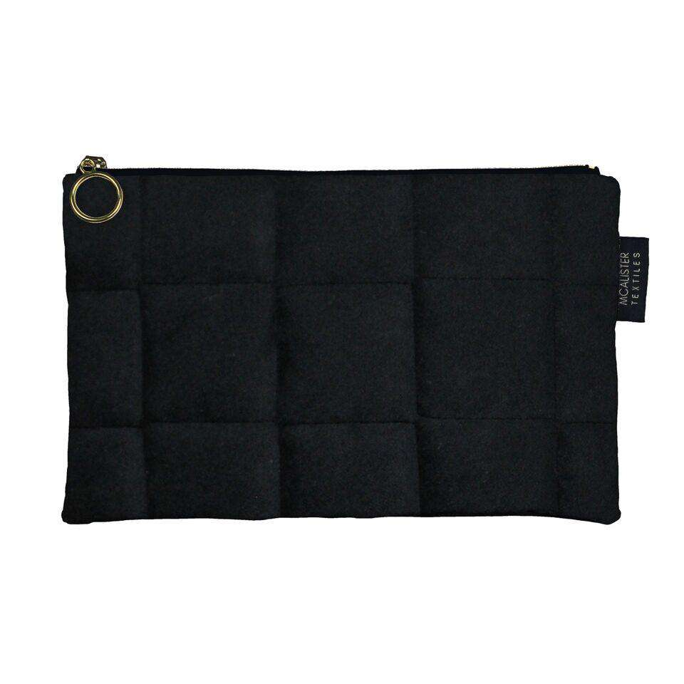 McAlister Textiles Square Pattern Black Velvet Makeup Bag - Large Clutch Bag