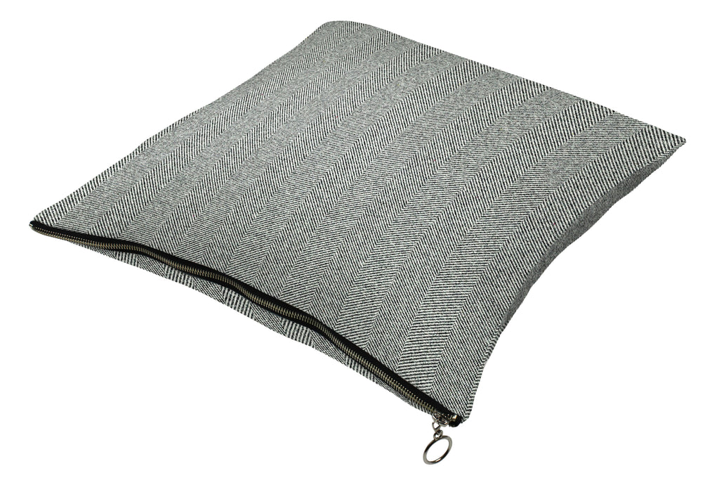 McAlister Textiles Herringbone Zipper Edge Charcoal Grey Cushion Cushions and Covers Cover Only 43cm x 43cm