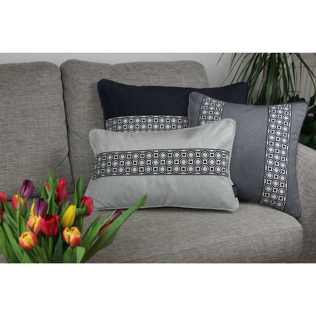 McAlister Textiles Cancun Striped Charcoal Grey Velvet Cushion Cushions and Covers