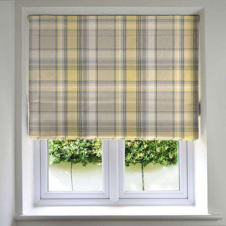 McAlister Textiles Heritage Tartan Check Mustard Yellow + Grey Roman Blind Roman Blinds Standard Lining 130cm x 200cm Mimosa
