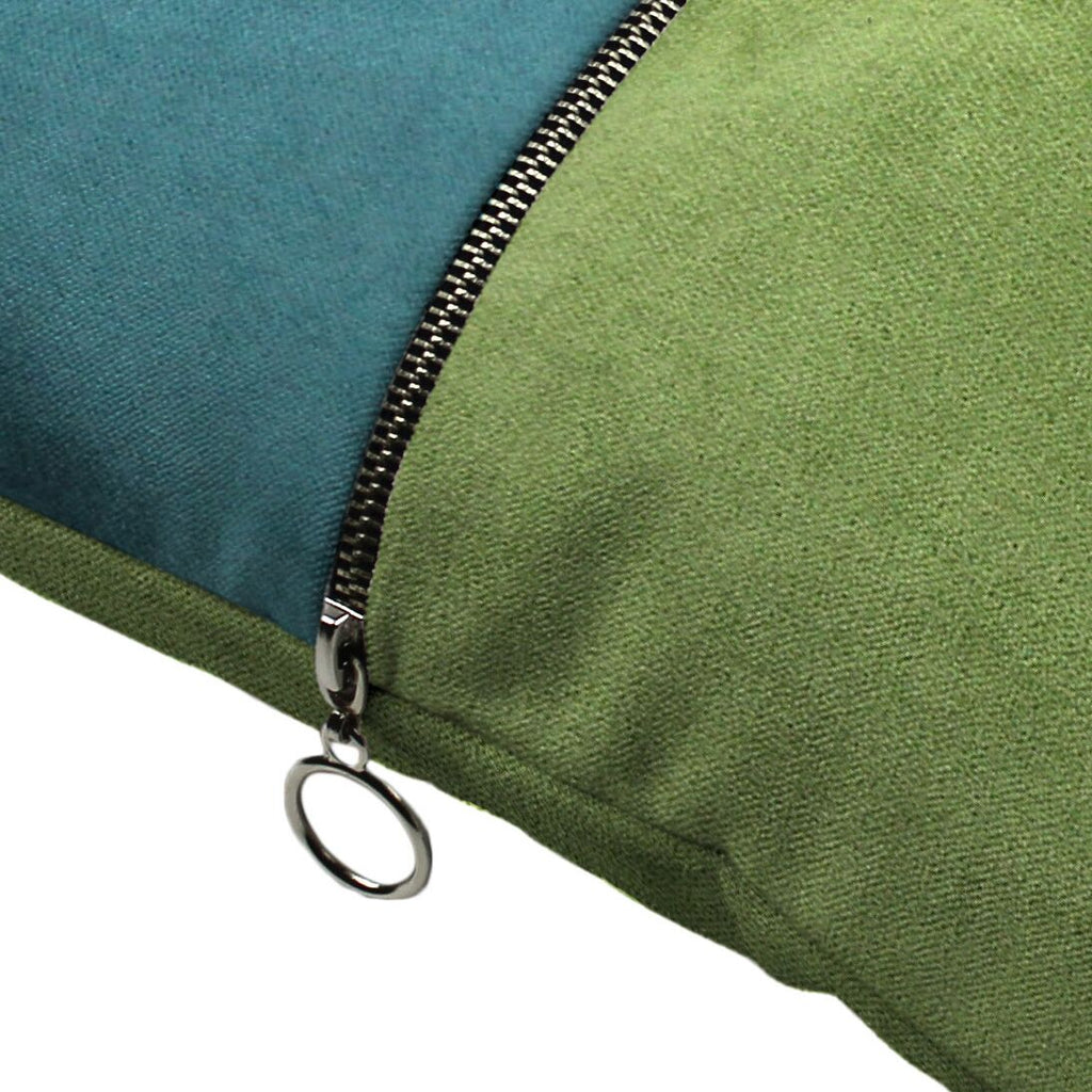 McAlister Textiles Decorative Zip Teal + Green Velvet Cushion Cushions and Covers