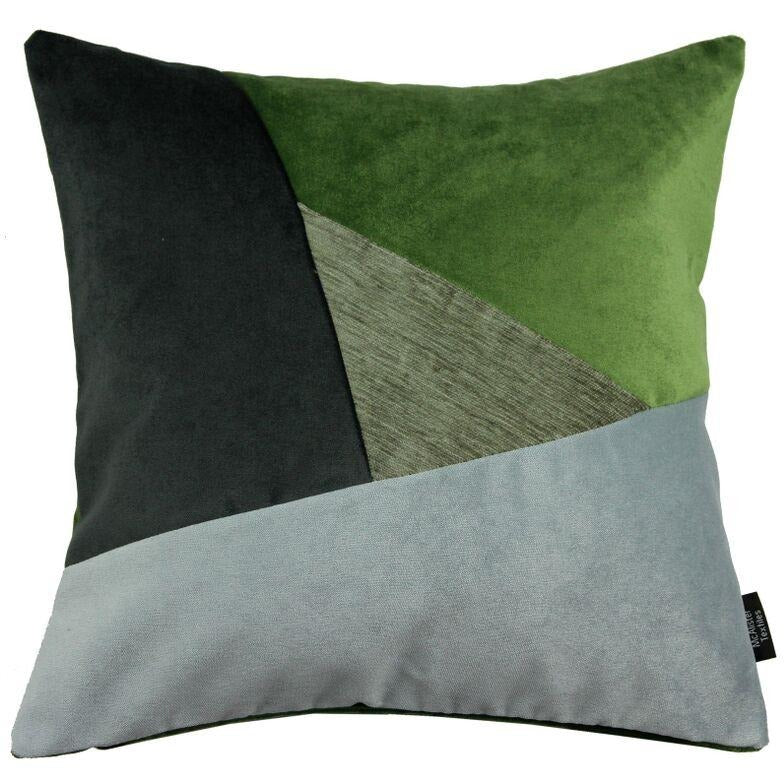 McAlister Textiles Triangle Patchwork Velvet Green, Silver + Grey Cushion Cushions and Covers Cover Only 43cm x 43cm