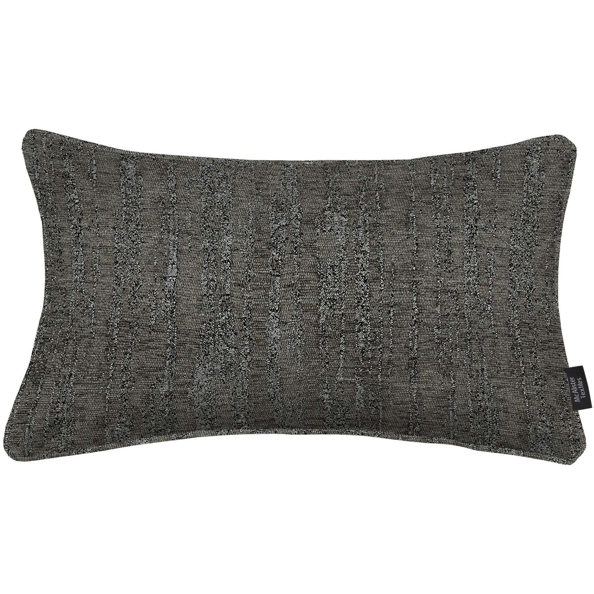McAlister Textiles Textured Chenille Charcoal Grey Pillow Pillow Cover Only 50cm x 30cm