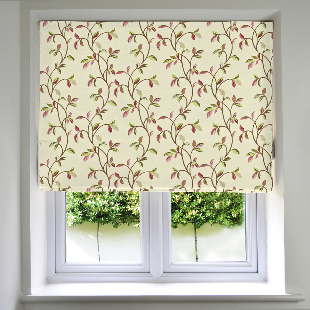 McAlister Textiles Annabel Floral Cherry Red Roman Blind Roman Blinds Standard Lining 130cm x 200cm