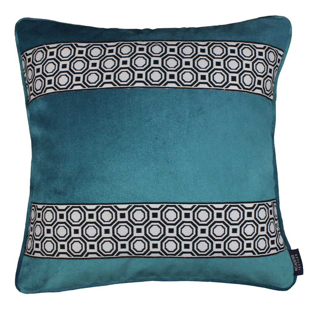 McAlister Textiles Cancun Striped Blue Teal Velvet Cushion Cushions and Covers Polyester Filler 43cm x 43cm
