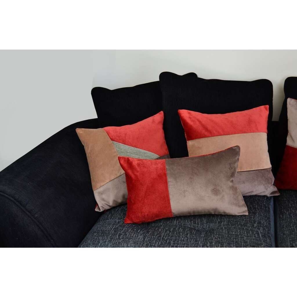 McAlister Textiles 2 Colour Patchwork Velvet Red + Brown Pillow Pillow