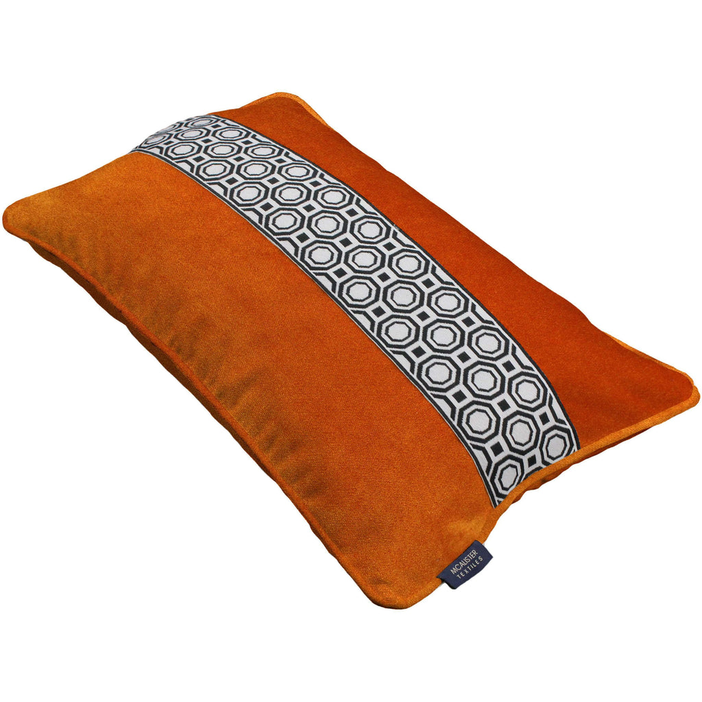 McAlister Textiles Cancun Striped Burnt Orange Velvet Cushion Cushions and Covers