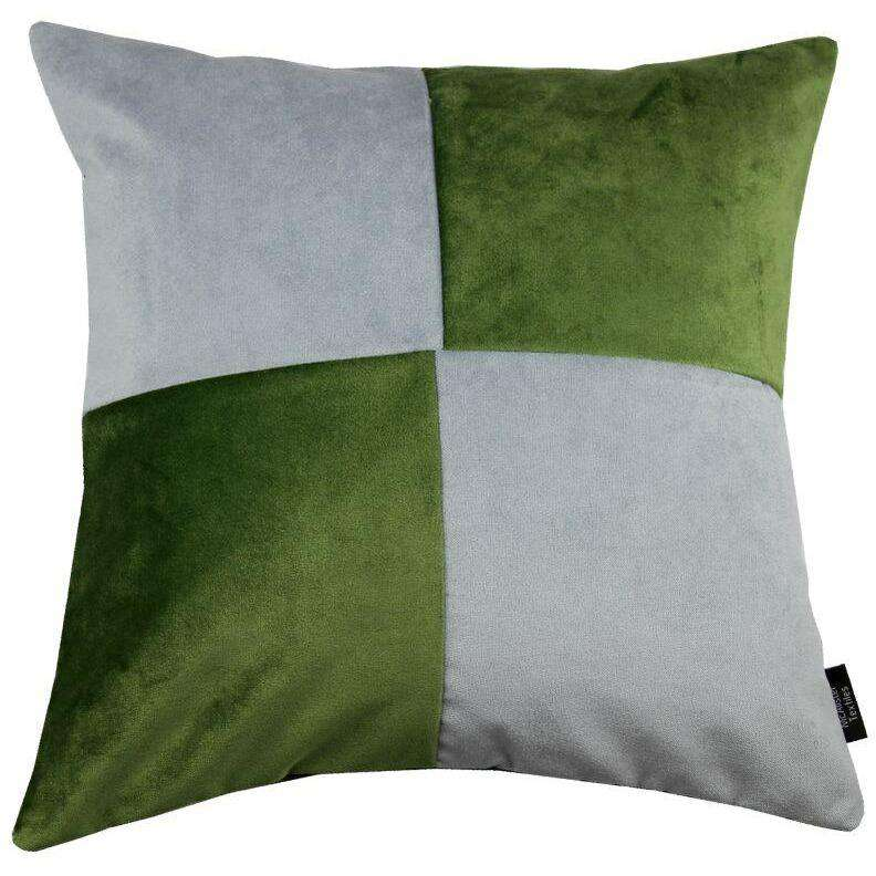McAlister Textiles Square Patchwork Velvet Green + Silver Cushion Cushions and Covers Cover Only 43cm x 43cm